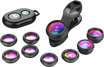 Apexel Phone Camera Lens-Macro Lens+Wide Lens+Fisheye Lens+Telephoto Lens+CPL/Flow/Radial/Star Filter+Kaleidoscope 3/6 Lens 10 in 1 Lens Kit +Remote Shutter for iPhone, Samsung,LG and Most Smartphones