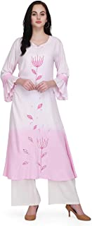 Pret A Porter White And Pink Colored Rayon Designer Kurti With Palazzo Pants (Stitched)