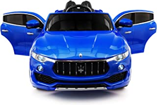 Maserati Levante 12V Power Children Ride-On Car SUV with R/C Parental Remote + LED Wheels with Rubber Traction Bands + Leather Seat + MP3 Music Player Bluetooth FM Radio + LED Lights (Blue)
