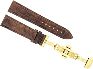 17 18 19 20 21 22 23 24MM Leather Band Strap Deployment Clasp for Gucci 2B Gold