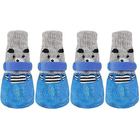 ルナリ 犬用ソックス 靴下 犬用 滑り止め マジックテープ付き 熊 4個セット (S, ブルー)
