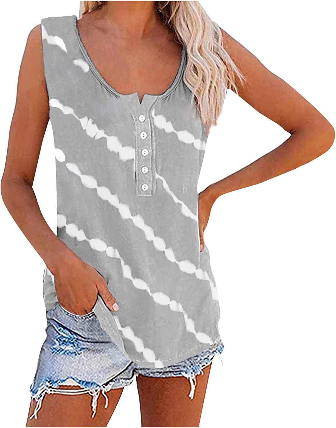 soyienma Women Tank Tops, Womens Sleeveless Tops Color Block Casual Tshirts Crewneck Tunic Tees Summer Workout Vest Blouses
