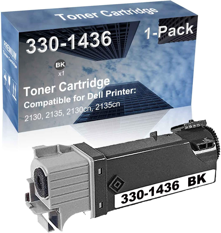 1-Pack (Black) Compatible 2130, 2135, 2130cn, 2135cn Printer Toner Cartridge High Capacity Replacement for Dell 330-1436 Toner Cartridge