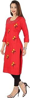 RED MARLIN Women's Red Straight kurti (XX-Large)