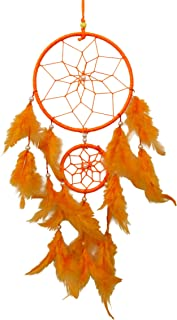 SuSvapnaah Boho Dream Catcher Orange Faux Feather Handmade Web Double Ring Wall Hanging Window Decor