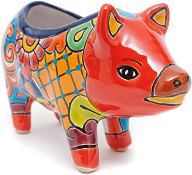 Jayde N' Grey Talavera Pottery Piggy Flower Pot Hand Painted Ceramic Pig Plant Pot Planter Indoor Outdoor Use Flower Vase Garden Statue Sculpture Farm Animals (Red Multi)