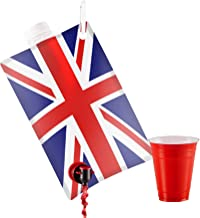 Union Jack Flag Party Flask:2 liter British Flag Flasks Make the Perfect Drink Dispenser for Your St Georges Day or Guy Fawkes,Bonfire Night Party Supplies,Football, Cricket,or Rugby Parties and More