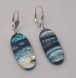 Long Aqua Blue Dichroic Glass Dangle Earrings Sterling Silver Lever-Backs