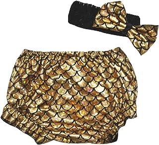 petitebella Vestido Bling Oro Sirena peces escalas Bloomer para bebé 6–24M