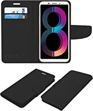 Acm Leather Flip Wallet Case Compatible with Oppo A83 (2018 Edition) Mobile Cover Black