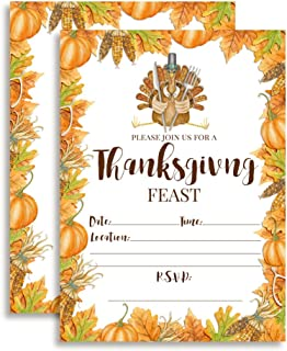 Watercolor Turkey Thanksgiving Feast Invitations, 20 5