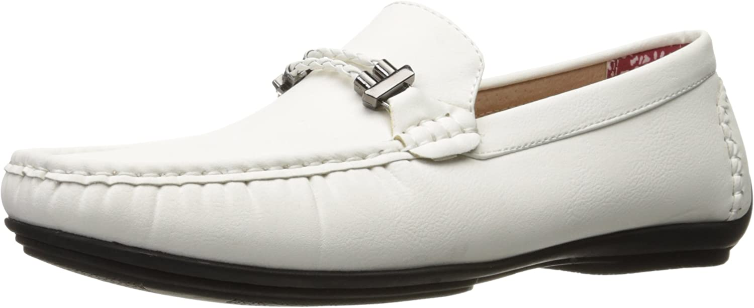 STACY ADAMS Hommes's Percy-Braided Strap Driving Moc Oxford, blanc, 8 M US
