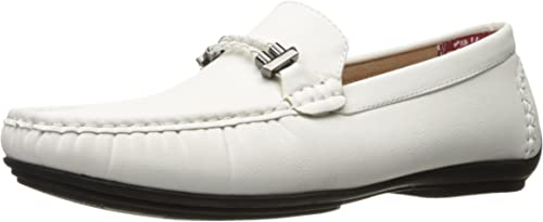 STACY ADAMS Men& 039;s Percy-Braided Strap Driving Moc Oxford, Weiß, 8 M US