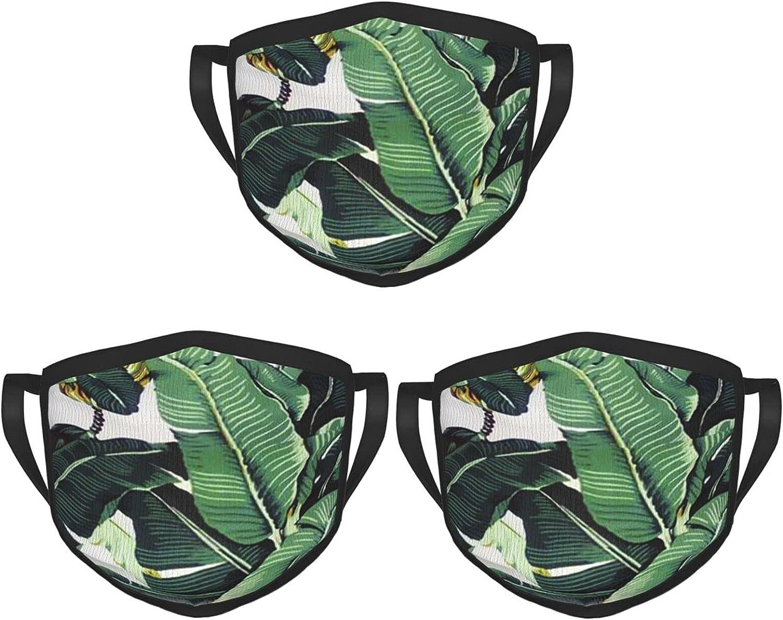 Balaclava Earmuffs Tropical Banana Leaf Plant Stripes Face Mouth Cover Mask Reusable Washable Scarf Towel Cover Headwrap