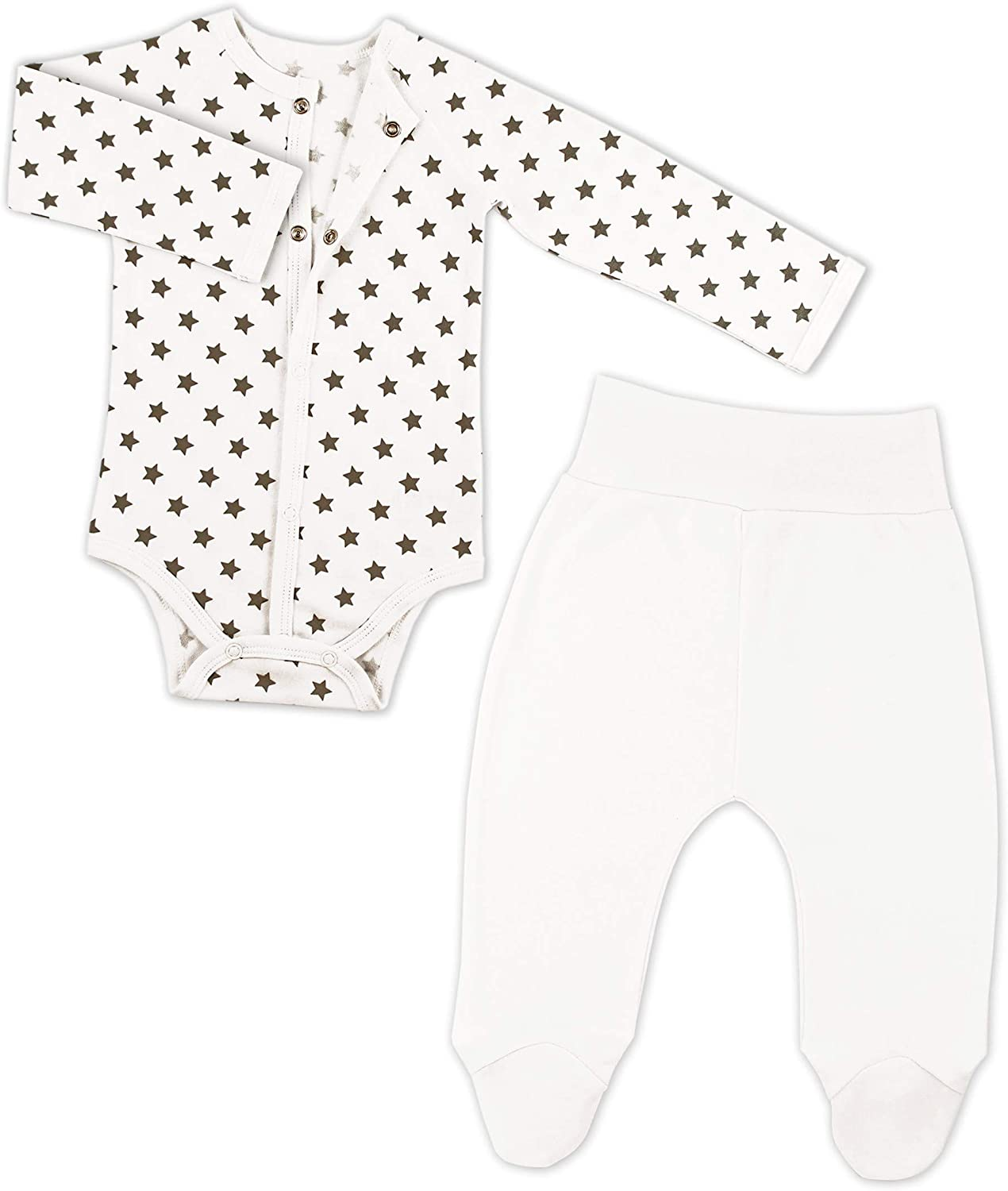 Bernisa Baby Girls' 2-Pack Cotton Outfit Newborn to 6 Months Pant Front Snap Long-Sleeve Bodysuit