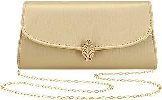 Womens Evening Bag Handbag Clutch Purse Soft PU Leather Maple Leaf Pattern for Wedding Party Prom