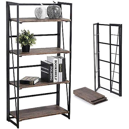Coavas Estantería Librería Organizador Plegable de Metal Efecto Madera Diseño Industrial para Almacenamiento (125cm x 60cm x 30 cm)