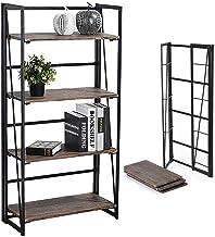 Coavas Folding Bookshelf Home Office Industrial Bookcase No Assembly Storage Shelves..