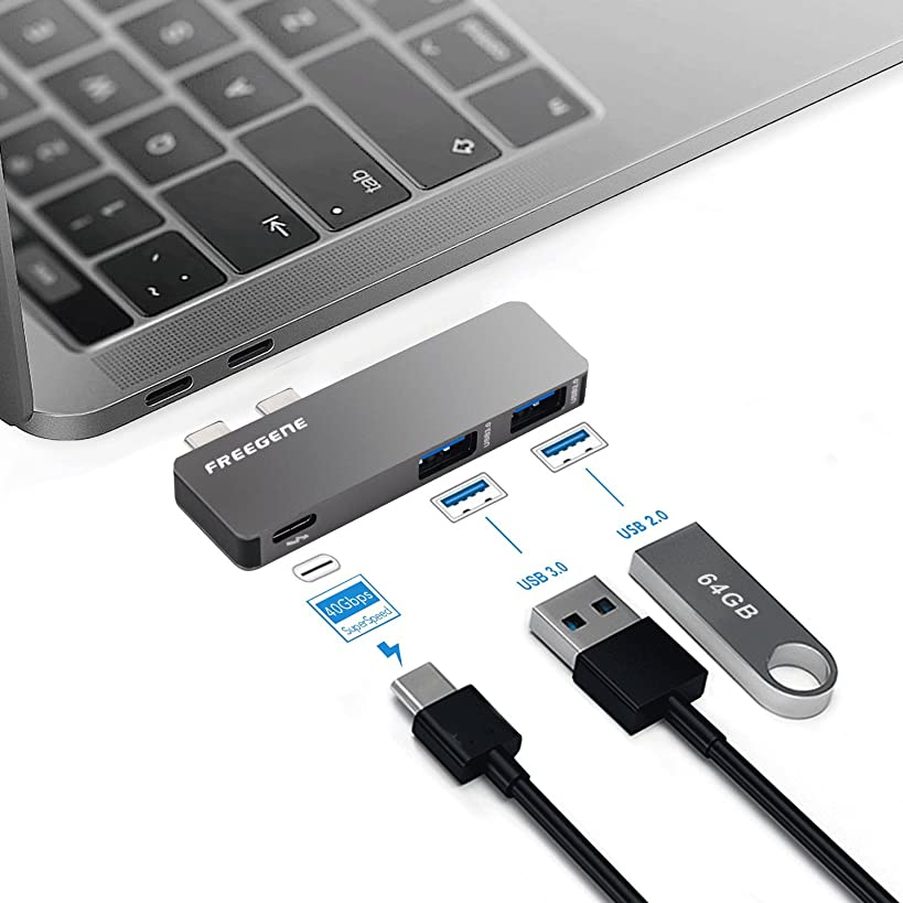 OneOdio USB Type-C HUB Adapter - Aluminum Pass Through Charging Type-c Hub with 40Gbs Thunderbolt 3, USB 3.0 Port, USB 2.0 Port for New 13