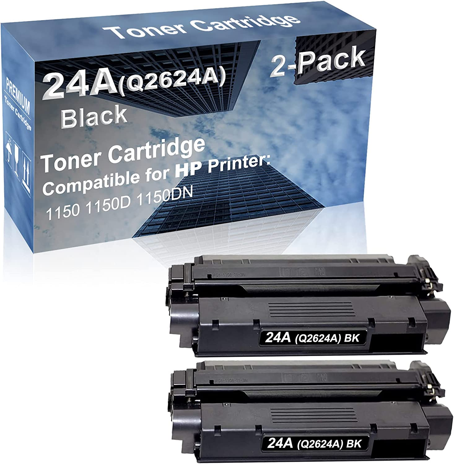 2-Pack Compatible High Capacity 24A (Q2624A) Imaging Toner Cartridge use for HP 1150 1150D 1150DN Printer (Black)