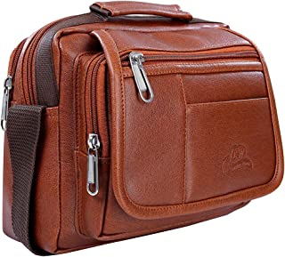 Leather World PU Leather Travel Sling Bag Men Women Cross Body Messenger (22 x 8 X 21 cm) (Tan)