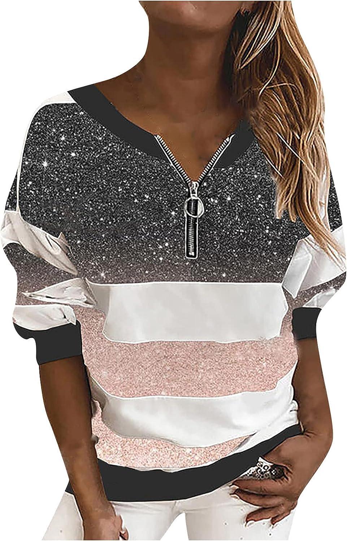 Pullover Tops for Women Fall Winter Fashion Zipper V Neck Tunic Long Sleeve Shirts Striped Sweatshirts