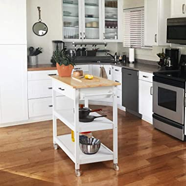 Topeakmart Kitchen Island Cart on Wheels, Rolling Microwave Cart with Storage Drawer Towel Rack Lower Shelf Natural Wood Coun