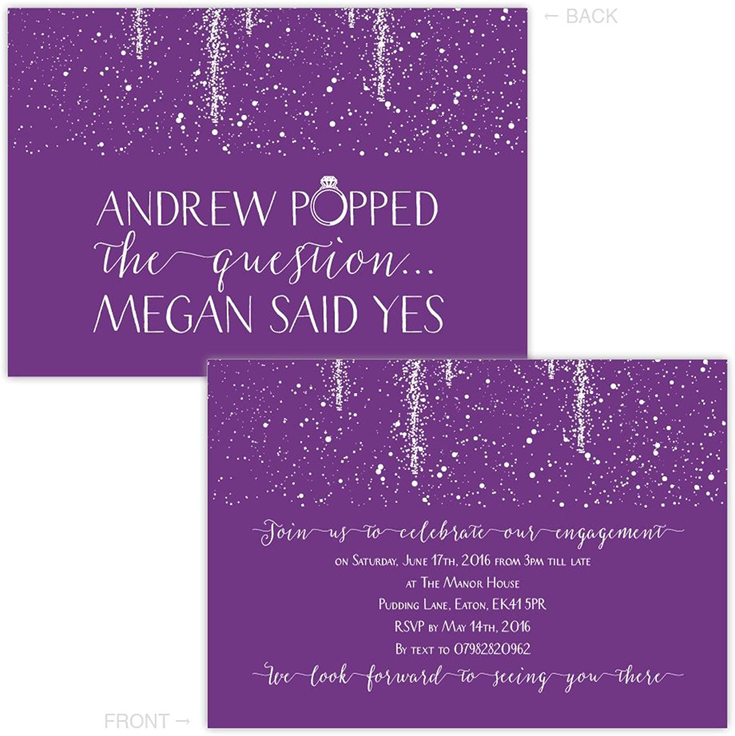 Made by Mika Personalised engagement party invitations PURPLE SPARKLE POP FREE DRAFT & FREE ENVELOPES (200, A5 single-sided Pearl or Textured card)