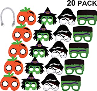 Gejoy 20 Pieces Halloween Mask Craft Kit, Include Pirates, Witch and Pumpkin Paper Masks for Halloween Costume Cosplay Decoration
