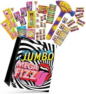 23pc Mega Fizz Jumbo Kids Lollies Showbag w/Faces Lollipops/Chew Bars/Sour Strap