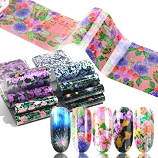 Macute Mixed Flower Nail Foils 16 Designs Holographic Floral Transfer Stickers Set For Nails Art Supply Decorations Acrylic Fingernails and Toenails Decor Manicure Tips Wraps Beauty Charms