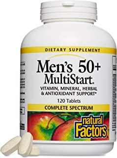 Natural Factors, Men's 50+ MultiStart Daily Multivitamin, Nutritional Support for Immune and Prostate Health, 120 tablets ...
