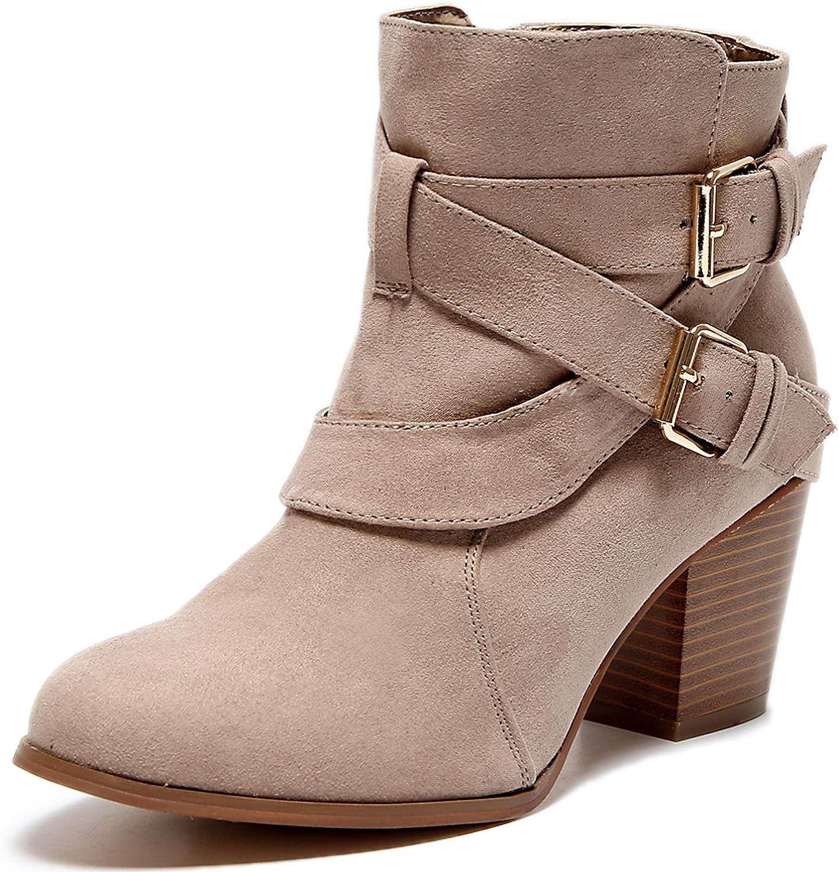 Luoika Women's Wide Width Ankle Boots, Extra Wide Mide Heel Side Zipper Winter Booties.