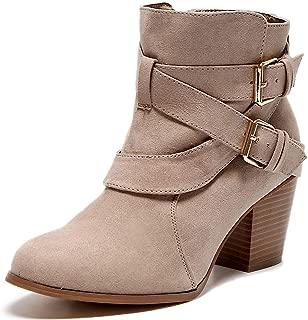 Women's Wide Width Ankle Boots - Mid Block Heel Side Zipper Cozy Comfortable Booties.