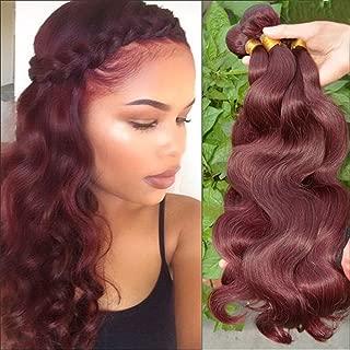 Fashion Barroko Hair Peruvian Body Wave 99j Red Wine Color 100% Unprocessed Human Virgin Hair 3 Bundles Burgundy Virgin Human Hair Weave Extensions 100g/Bundles (16 16 16)