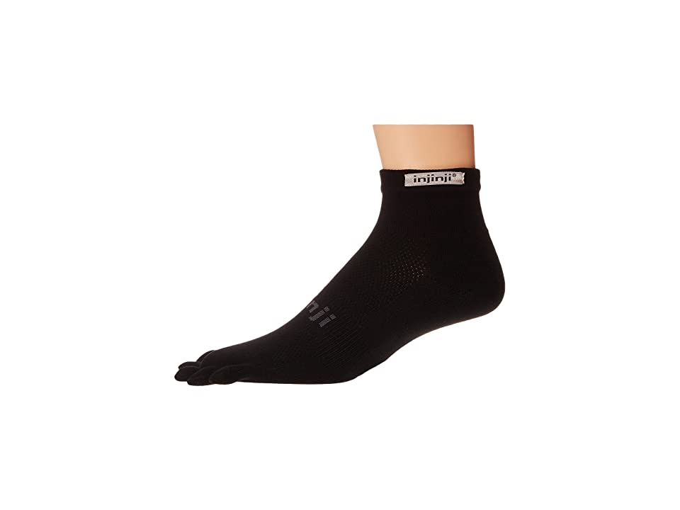 Injinji Run Original Weight Mini-Crew Coolmax 3 Pair Pack (Black) Low Cut Socks Shoes