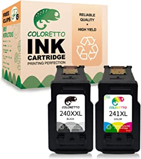Coloretto Re-Manufactured Printer Ink Cartridge Replacement for Canon PG-240XXL CL-241XL,240XL 240 241 XL for Canon PIXMA MG3620 TS5120 MG2120 MG3520 MX452 MX512 MX532 (1 Black+1 Color)