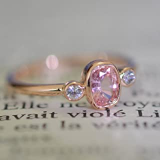 Cushion peach champagne sapphire 3 stones rose gold bezel ring two side white sapphires