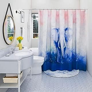 DESIHOM Elephant Shower Curtain Kids Shower Curtain Blue Pink Bubbles Shower Curtain Polyester Waterproof Shower Curtain 72x72 Inch
