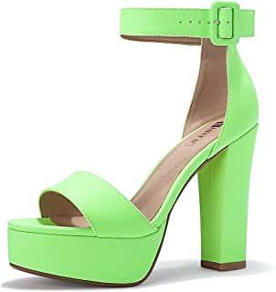 IDIFU Women's IN5 Sabrina Ankle Strap Platform High Chunky Heels Party Sandal (6, FLUORESCENTGREEN)