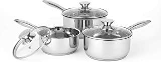 Russell Hobbs Classic Collection 3-Piece Saucepan Set, Stainless Steel, Silver