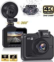 Real Dual Dash Cam 4K+1080P Front and Rear Car Camera,3840x2160P +1920x1080P Dual Lens Car Dashboard Camera with GPS, 170 Wide Angle, Parking Monitor, Loop Recording, G-Sensor, WDR.