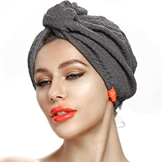 MEETRUE Hair Towel for Women Anti-Frizz, Microfiber Hair Towel for Long Curly Thick Hair, Magic Instant Dry Hair Towel, Super Absorbent Quick Dry Hair Turban Towel Wrap, Waffle Plaid, Dark Grey