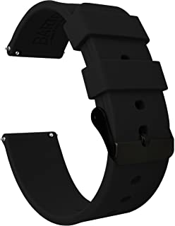 BARTON Watch Bands - Soft Silicone Quick Release - Black Buckle - Choose Color & Width - 16mm, 18mm, 20mm, 22mm, 24mm - Silky Soft Rubber Watch Bands