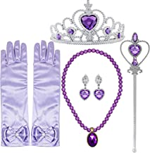 Princess Dress up Accessories 5 Pieces Gift Set for Sofia Rapunzel Crown Scepter Necklace Earrings Gloves