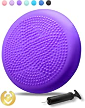 Tumaz Wobble Cushion with Air Pump Wiggle Seat, Two Sides Available Stability Balance Disc - Help with Core Strength, Attention, Staying Sitting, Postural Control and Balance for All Ages (Renewed)