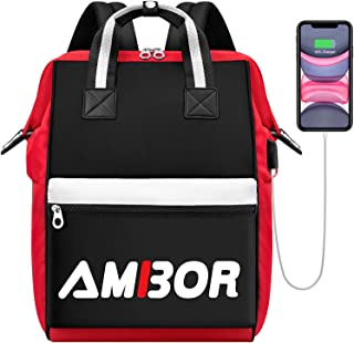 Laptop Backpack for Women, 15.6 Inch Wide Open Stylish Business Travel Laptop Backpack with USB Charging Port, Water Resistant College School Computer Backpack Casual Daypack for Men/Girls/Boys