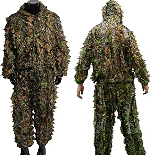 wuy Hunting Ghillie Suit Camouflage Sniper 3D Tactical Yowie Sniper Hunting Clothes Bionic Ghillie Suit Camouflage Hunting Clothes Shooting Wildlife Photography