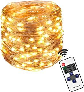 100 White LED Lights String Plug-in 12V Waterproof for Indoor/Outdoor Patio, Party, Home, Wedding Decoration (33ft, with Remote Control and Power Adapter) (Warm White)