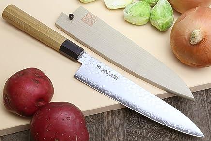 "YOSHIHIRO - NSW Hammered Damascus Chef Knife Gyuto Knife 8.25"" (210mm) - Made in Japan"